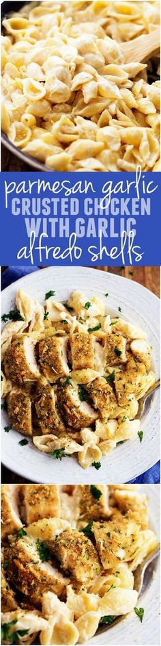 This Parmesan Garlic Crusted Chicken with Garlic Alfredo Shells is PHENOMENAL! The homemade garlic alfredo sauce is so creamy and perfect! One of the best meals you will make! This Parmesan Garlic Crusted Chicken . Think Food, I Love Food, Good Food, Yummy Food, Tasty, New Recipes, Italian Recipes, Cooking Recipes, Favorite Recipes