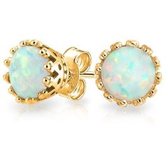 Bling Jewelry Bling Jewelry 925 Sterling Silver Crown Synthetic White... ($21) ❤ liked on Polyvore featuring jewelry, earrings, yellow, sterling silver stud earrings, sterling silver jewelry, fake earrings, opal stud earrings and stud earrings