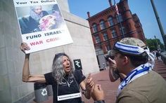 A woman demonstrating against Israeli action in Gaza and a supporter of Israel argued during a rally Sunday near the Holocaust Museum in Washington, D.C.