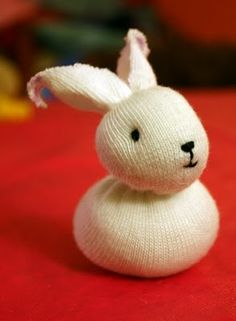 Adorable bunny from recycled sock - perfect plan for our unmatched sock box