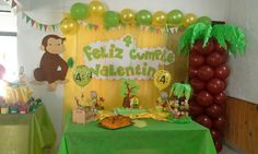 Jorge el curioso Curious George Party, Curious George Birthday, First Birthday Parties, 2nd Birthday, First Birthdays, Safari Party, Ideas Para Fiestas, Balloon Decorations, Party Games