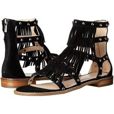 Pelle Moda Helen 2 (Black Calf Suede) Women's Sandals ($85) ❤ liked on Polyvore featuring shoes, sandals, black, black low heel sandals, black studded sandals, fringe gladiator sandals, black caged sandals and black shoes