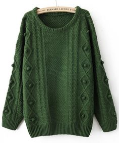 Green Round Neck Long Sleeve Pom Embellished Pullovers Sweater