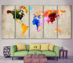 Watercolor World Map №870