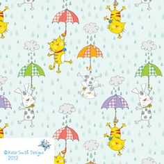 Raining Cats & Dogs Pattern by Kate Smith Designs