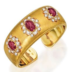 Lot 76 - 18 Karat Two-Color Gold, Ruby and Diamond Cuff Bracelet, Buccellati