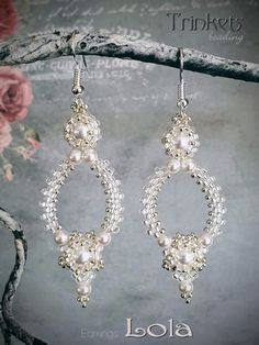 Lovely earrings using seedbeads and pearls, make them yourself in any color you like. Pattern available at my shop.
