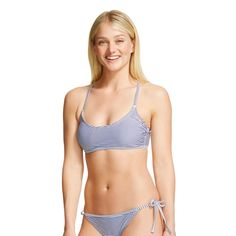 Navy/White Stripe Crochet Back Halter Bralette Bikini Top - Xhilaration