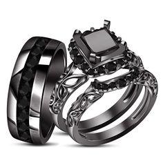 Men's Ladies Black Gold Over Real Princess Diamond Trio Wedding Set Ring 1.50CT #aonedesigns