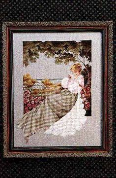Lavender and Lace Nantucket Rose - Cross Stitch Pattern. Stitched on 32 count Dove Grey Linen with DMC floss. The stitch count is 167W x 228H.