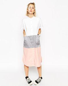 ASOS WHITE Block Midi Shirt Dress via ASOS.com #witcherystyle
