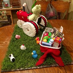 Tractor diaper cake for farm-themed baby shower. Angle 1 of 4.