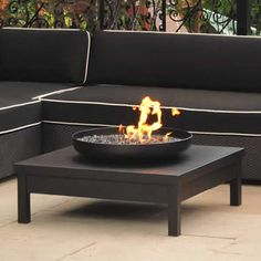 Real Flame Mezzo Propane Fire Pit Table BACK YARD - Black propane fire pit table