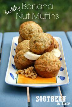 Healthy Banana Nut Muffins Recipe - low fat, gluten free, whole wheat, sugar free, clean eating friendly