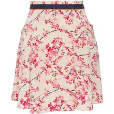 Balenciaga - Cherry Blossom-print Silk Skirt in red (cherry) | Lyst ❤ liked on Polyvore