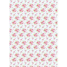 Decoupage paperi, Ruusu, sininen 30 x 42 cm, 1 arkki