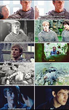 Some of the many times Arthur proved he cared about and was willing to die for Merlin. Merlin Quotes, Merlin Memes, Merlin Funny, Sherlock Quotes, Colin Morgan, Merlin And Arthur, King Arthur, Merlin Cast, Emrys Merlin