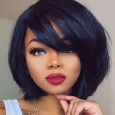 African American Wigs Short Capless Straight Side Bang Women's Synthetic Wig #SideBang