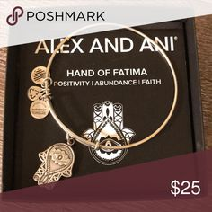 Alex and ANI Hand of Fatima Silver bangle NWOT. Comes in box. Alex And Ani Jewelry Bracelets