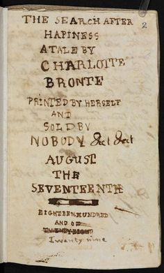 """You can't buy happiness, even from Charlotte Brontë. Her 'Search After Happiness', which she wrote when she was just 13, was 'sold by nobody'."" — image and caption via The British Library/Facebook page."