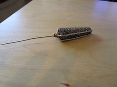 """New Listing Started unusual stickpin 5.5""""long with multi colout glitter silver cord £1.00"""