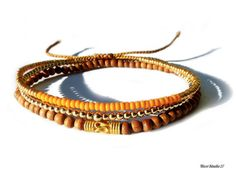 Seed Bead Golden Orange Braided Bracelet by on Etsy Braided Bracelets, Seed Beads, Braids, Bangles, Unisex, Sterling Silver, Orange, Trending Outfits, Unique Jewelry