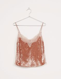 Velvet and lace lingerie top. Discover this and many more items in Bershka with new products every week
