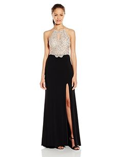 Blondie Nites Juniors Long Beaded Prom Dress with Keyhole Neck, Nude/Black, 1. Jewel beads. Embellished.