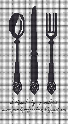 Penelopis' cross stitch freebies: Sztucce/Cutlery