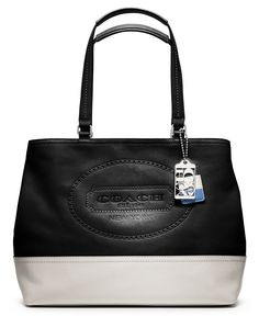 COACH HAMPTONS WEEKEND LEATHER PERFORATED MEDIUM TOTE - Handbags & Accessories - Macy's- $208.60