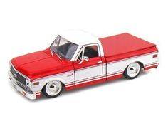 Jada 1/24 72 Chevy Cheyenne by JADA. $14.99. Removeable Truck Bed Cover. Not Suitable for Children Under 8 Years Old. Official Licensed Product. Openable Doors, Hood and Tail Gate. 1:24 Die Cast Metal Car with Plastic Parts. Showroom Floor 1972 Chevy Cheyenne Pickup Truck 1:24 Scale in two tone colors Red and White, made by Jada.. Save 32% Off!