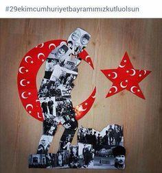 Ataturk pano Preschool Art Activities, Child Day, Reggio Emilia, Pre School, 4th Of July Wreath, Collage Art, Art Lessons, Special Day, Kindergarten