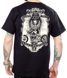 Lucky 13 shirt ride in peace tattoo motorcycle biker coffin skull rockabilly #Lucky13 #GraphicTee