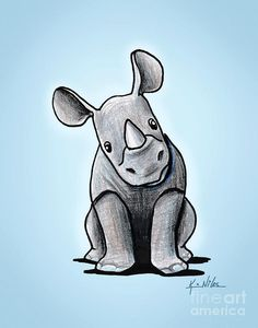 Rhinoceros Drawing | Baby Rhino Drawing by Kim Niles - Baby Rhino Fine Art Prints and ...