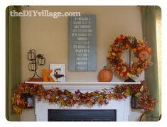 thanksgiving decorations, fall decor, fall mantels, fall mantle decor, fall mantel decorations, diy livingroom decor, fall home decorations, decor idea, diy villag