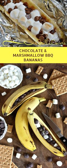 PrintGrill Lovers' Chocolate & Marshmallow BBQ Bananas Recipe Ingredients• 4 ripe bananas • 1-cup mini marshmallows • 1-cup semisweet chocolate chips • 1 tin foil boat InstructionsPreheat your grill to medium high heat. Slice one banana so there is a deep slit on the top of the banana. Be careful not to cut all way[...]