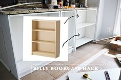 make the best use of the space under your counter with diy shelves, countertops, kitchen cabinets, shelving ideas