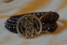 Handmade Coffee pearl Boho Chic beaded bracelet by Paulettegh, $22.00