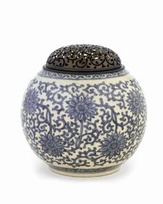 Japanese Art | Incense burner, refashioned from a bottle (late 18th-19th century) | Edo period | Porcelain with cobalt decoration under clear glaze; silver lid, H: 12.5 W: 15.2 cm, Kyoto, Japan