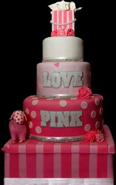 Victorias Secret Pink Themed Sweet 16  Cake Decorating Community cakepins.com