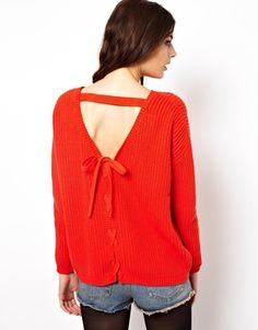 ASOS Jumper With Lace Up Back Detail