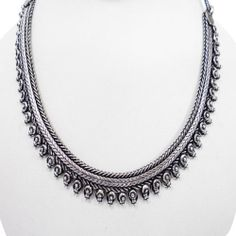 Ethnic Brass Silver Tone Oxidize Metal Choker Necklace Fashion Indian Jewelry | eBay