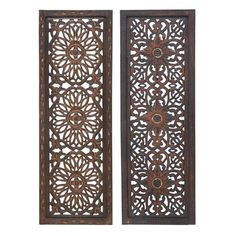 Set of two wood wall panels with medallion cut-outs. Product: 2 Piece wall panel setConstruction Material: WoodColor: BronzeDimensions: H x W x D each Metal Wall Panel, Wooden Wall Panels, Decorative Wall Panels, Wood Panel Walls, Panel Wall Art, Wooden Walls, Wood Paneling, Metal Walls, Decorative Mouldings