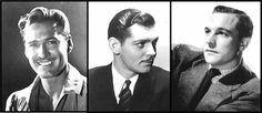 Au niveau des cheveux, les hommes avaient une coupe courte sur les côtés et au niveau de la nuque, laissant plus de volume sur le haut pour se coiffer en arrière avec le plus souvent de la gomina qui permettait de conserver une coupe impeccable losqu'on otait son chapeau. Car oui, c'est dans ces années que la Gomina apparut ! Plus précisément, en 1928. Elle fut plus tard appréciée des aviateurs qui pouvaient après des heures de vol, leur casque sur la tête, conserver leurs cheveux coiffés