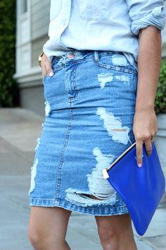 Ripped denim & Cobalt blue clutch