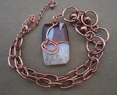 Brown Sardonyx Stone Wire Wrapped Pendant by FirednWiredJewelry