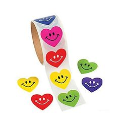 100 SMILEY Face HEART STICKERS/COLORFUL Smile/HAPPY/VALENTINE'S Day PARTY Decor/Rewards/TEACHERS/LOVE