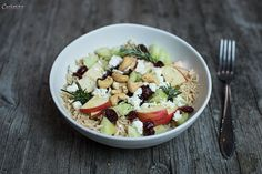 Salat, Apfel, Reis, Cranberry, gesund, healthy, frisch, Obst, Salatidee, Reissalat, Fruchtsalat, fruits, rice, cranberries, healthfood, fresh, saladidea, apple