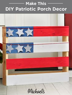 Quickly transform a simple pallet into an American Flag front porch decoration with red, white & blue Martha Stewart Crafts® Vintage Décor Paint, rope and glitter stars. Perfect for all patriotic holidays, this flag pallet will give your home an All-American feel. Find everything you need at your local Michaels and make your Independence Day celebration fun & festive!