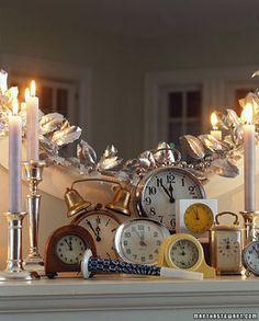 New Year's Mantle Decor-Clocks